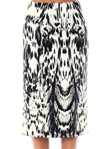 Giambattista Valli Couture Abstract Lynx print silk skirt