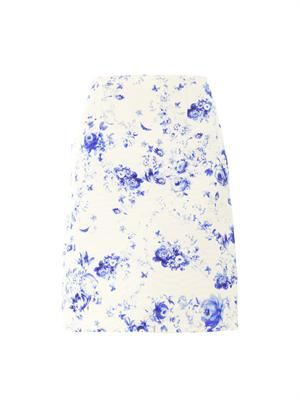 Wedgewood-print silk-faille skirt
