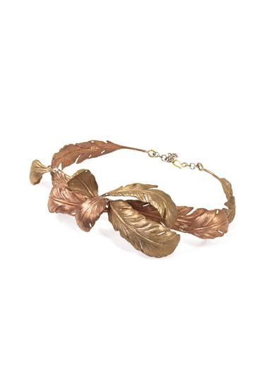 Giambattista Valli Couture Leaf detail metal waist belt