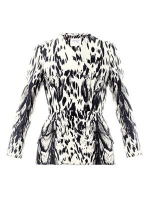 Abstract Lynx print silk peplum jacket
