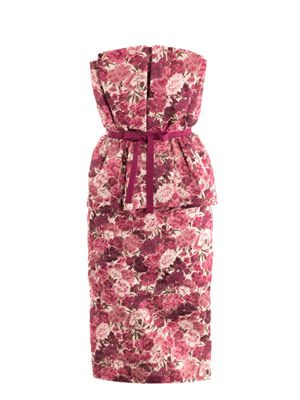 Carnation-print bustier dress