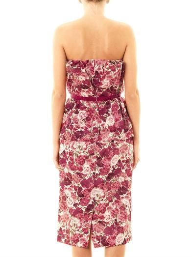 Giambattista Valli Couture Carnation-print bustier dress