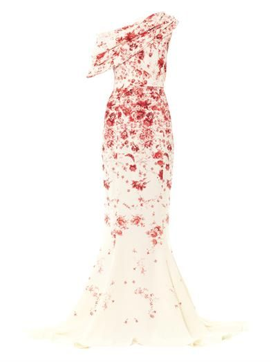 Giambattista Valli Couture Silk cady one-shoulder gown