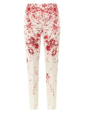 Wedgewood-print silk-faille trousers