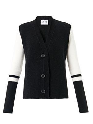 Bi-colour wool-blend cardigan