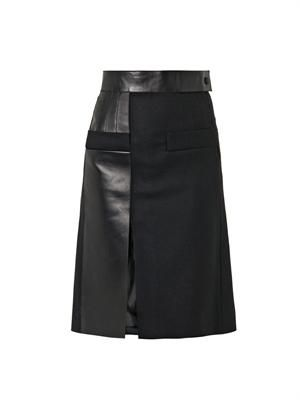 Leather-panel wool skirt
