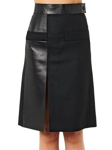 Atto Leather-panel wool skirt