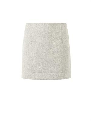 Textured-wool mini skirt