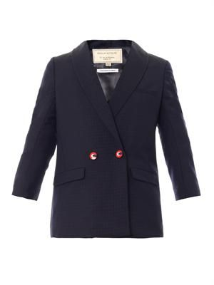 Diamond jacquard double-breasted blazer