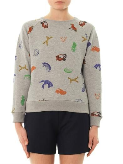 Maison Kitsune Fox-print cotton sweatshirt