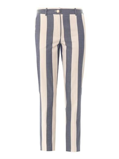 Maison Kitsuné Striped cotton tapered-leg trousers