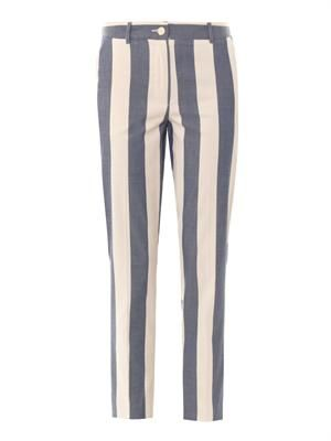 Striped cotton tapered-leg trousers