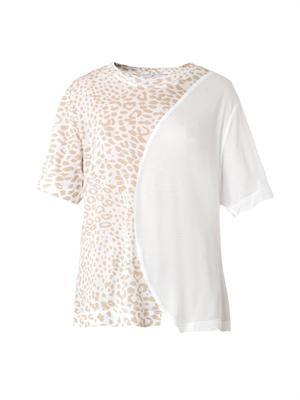 Animal-print asymmetric T-shirt