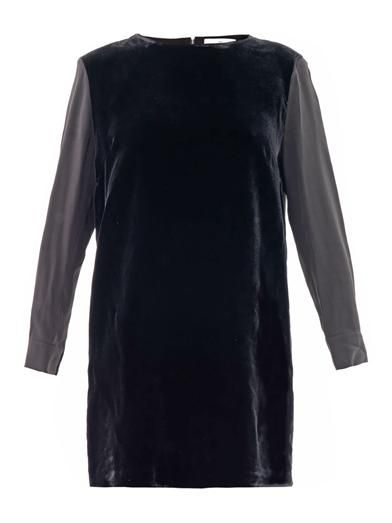 Ar Velvet and silk panel dress