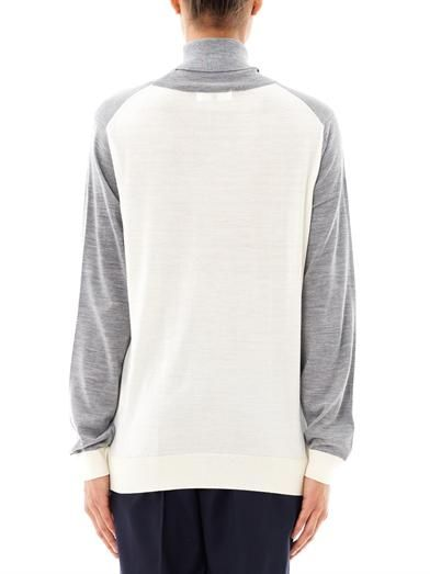 Ar Contrast panel wool sweater
