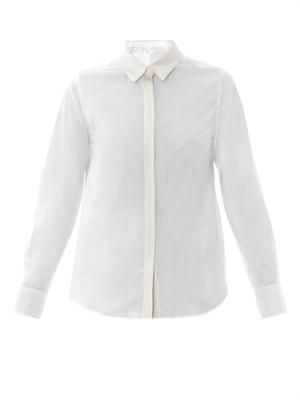Metallic trim cotton shirt