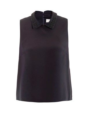Embellished collar top