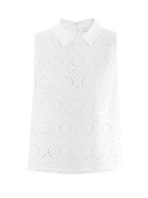 Sleeveless broderie anglaise top