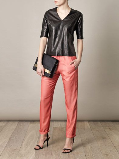 Ar Layered silk trousers