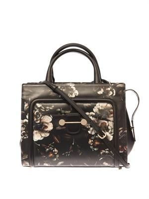 Daphne floral-print leather tote