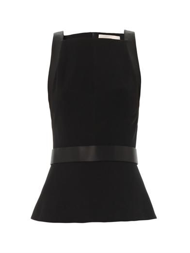 Jason Wu Satin-trimmed ponte peplum top