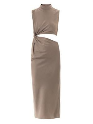 Twisted cut-out satin dress