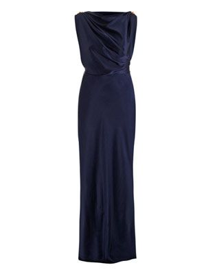 Silk charmeuse embellished gown