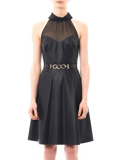 Jason Wu Sheer neckline leather dress