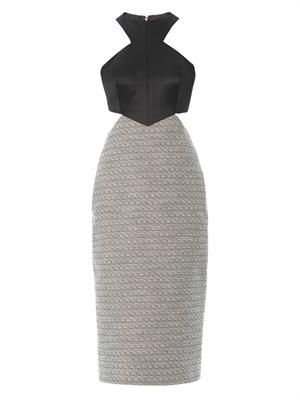 Satin and tweed cut-out dress