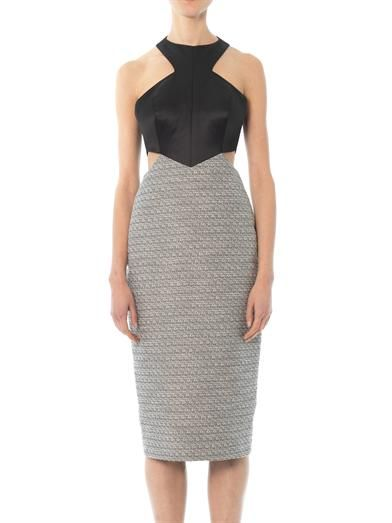 Jason Wu Satin and tweed cut-out dress