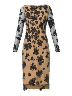 Floral embellished lace dress