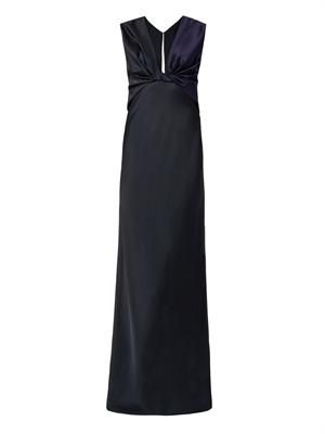 Bi-colour twist-front crepe gown