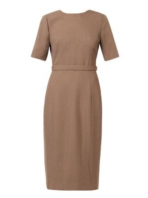 V-back wool-crepe dress