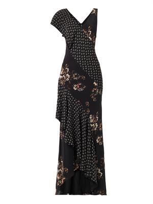 Combo-print bias-cut gown