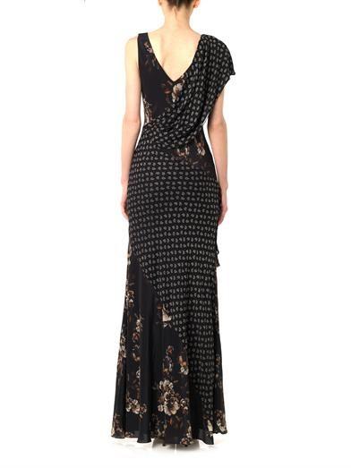 Jason Wu Combo-print bias-cut gown