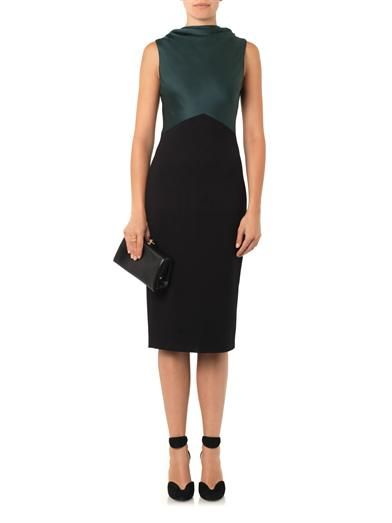 Jason Wu Satin-panel ponte dress
