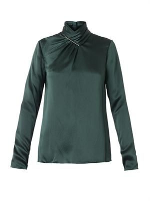 Twist-front silk blouse