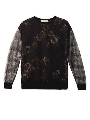 Lace-overlay silk sweatshirt