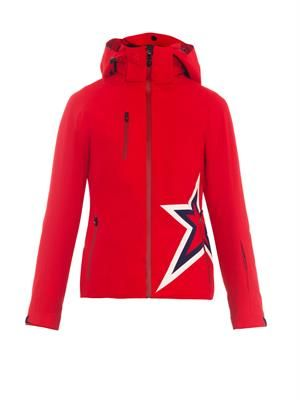 Star-motif hooded ski jacket