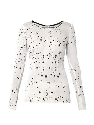 Vanessa star-print silk blouse
