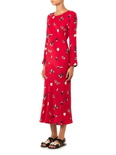 Piamita Andrea apple-print silk dress