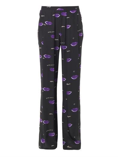 Piamita Tatiana lips-print trousers