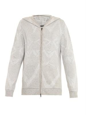 Hooded zip-front cashmere sweater