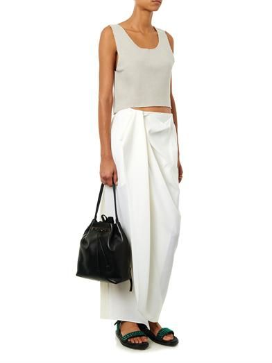 Baja East Gathered-front midi skirt