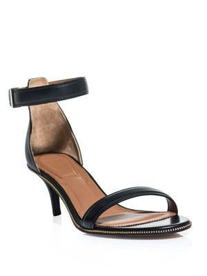 Zip trimmed ankle-strap sandals