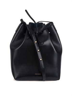 Large vegetable-tanned leather bucket bag
