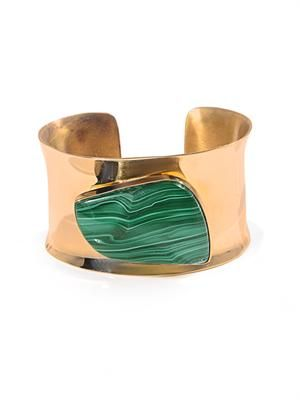 Malachite stone & brass cuff