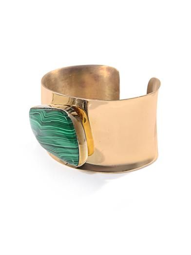 Jody Candrian Malachite stone & brass cuff