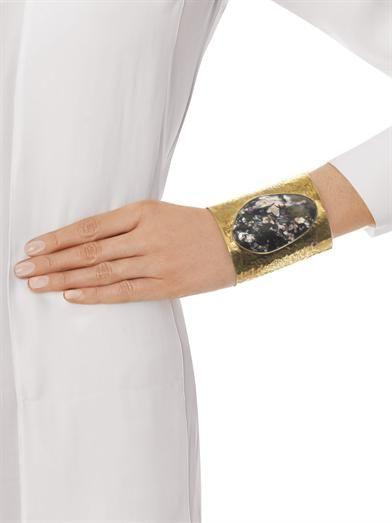 Jody Candrian Tiffany stone & brass cuff