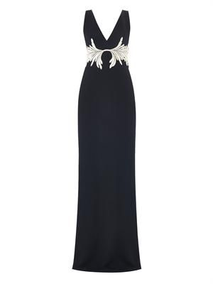 Embroidered heavy-knit navy gown